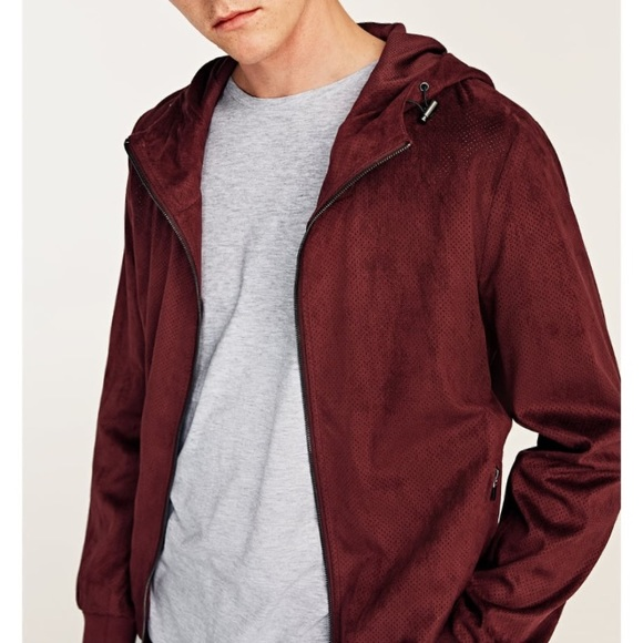 342a1bb2 Zara Jackets & Coats | Man Perforated Faux Suede Burgundy Jacket ...